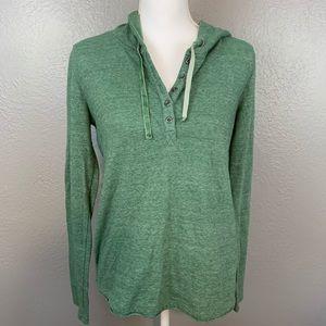 PrAna Devan Henley Green Pullover Hoodie